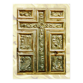 Carved Cross on church door Postcard