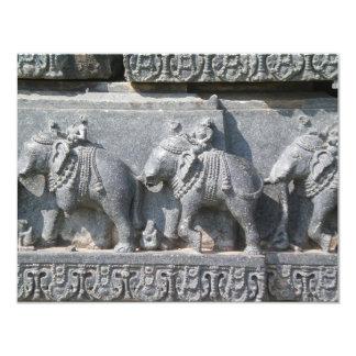 Carved Elephants 11 Cm X 14 Cm Invitation Card