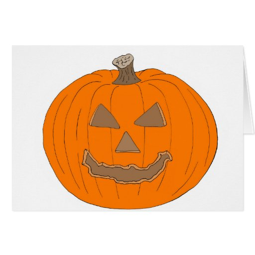 Carved Halloween Pumpkin Pop Art Image Greeting Cards