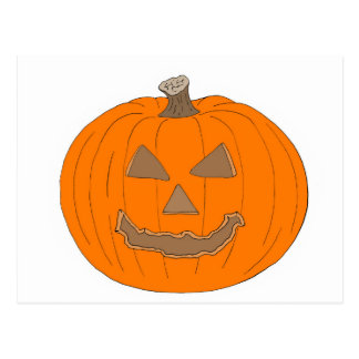 Carved Halloween Pumpkin Pop Art Image Postcard
