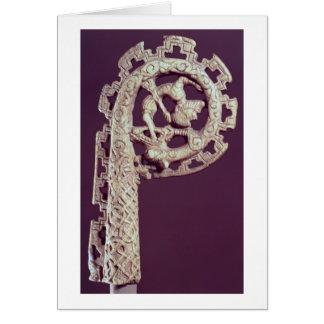Carved handle of a bishop's crook, bone card