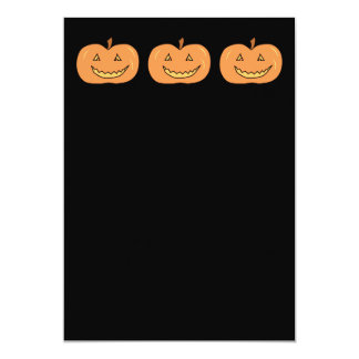 "Carved Happy Pumpkin. Halloween. 5"" X 7"" Invitation Card"
