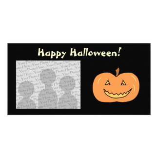 Carved Happy Pumpkin. Halloween. Customized Photo Card