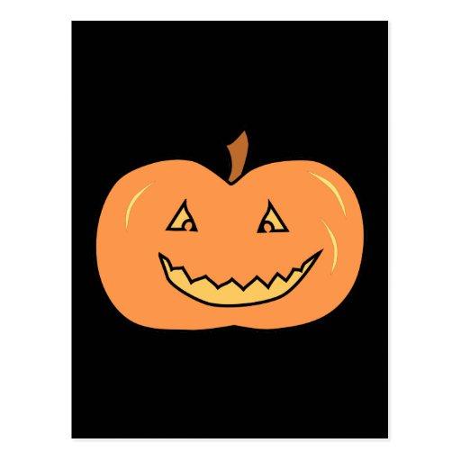 Carved Happy Pumpkin. Halloween. Postcards
