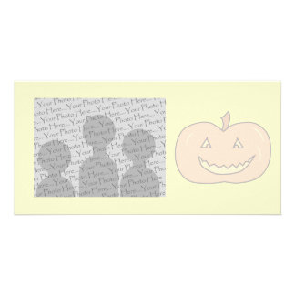 Carved Happy Pumpkin, Pale Colors. Halloween. Photo Card