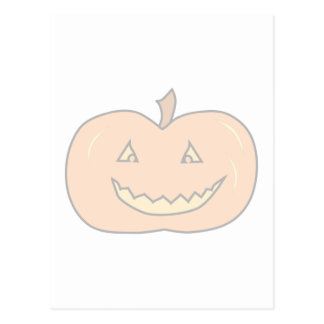 Carved Happy Pumpkin Pale Colors Halloween Post Card