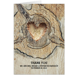 Carved Heart Rustic Tree Wood Wedding Thank You Note Card