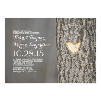 carved heart tree rustic country rehearsal dinner 13 cm x 18 cm invitation card