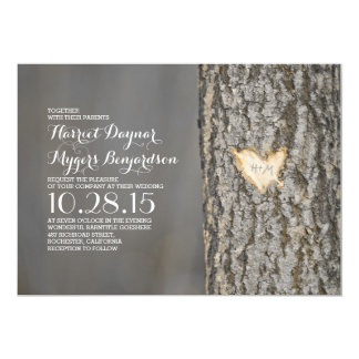 carved heart tree rustic country wedding 13 cm x 18 cm invitation card