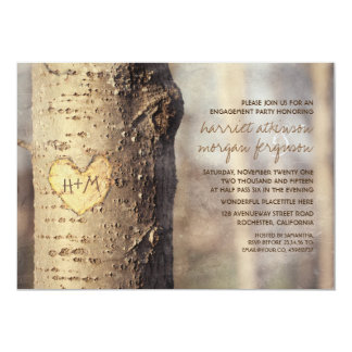 carved heart tree rustic engagement party card