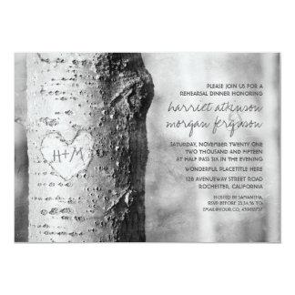 carved heart tree rustic rehearsal dinner 13 cm x 18 cm invitation card
