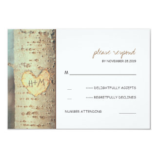 carved heart tree rustic RSVP cards 9 Cm X 13 Cm Invitation Card