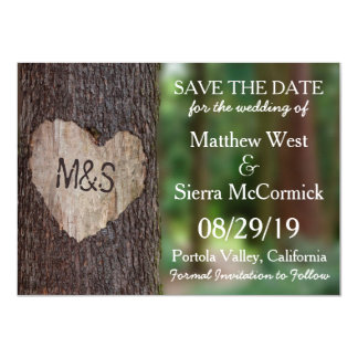 Carved Heart Tree Wedding Save The Date 11 Cm X 16 Cm Invitation Card