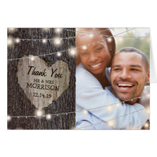 Carved Heart Tree Wedding Thank You Greeting Card