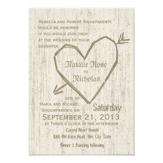 Carved Heart Wedding 13 Cm X 18 Cm Invitation Card
