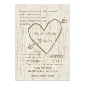 Carved Heart Wedding Card