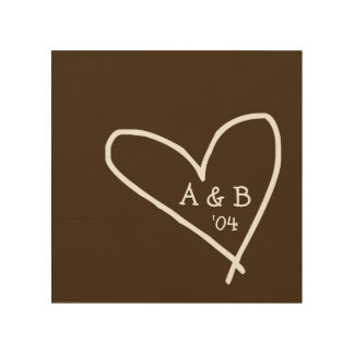 Carved Heart with Couple's Initials Wood Canvas
