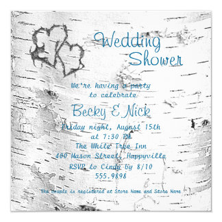 Carved Hearts Birch Bark Wedding Shower 13 Cm X 13 Cm Square Invitation Card