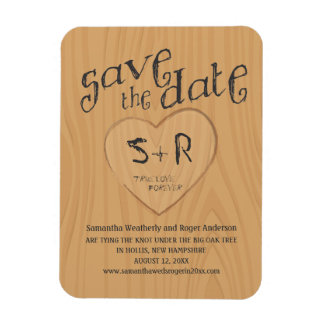 Carved Initals on Oak Tree Save the Date Rectangular Photo Magnet