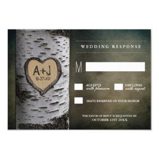 Carved Initials Birch Tree Wedding RSVP Cards 9 Cm X 13 Cm Invitation Card