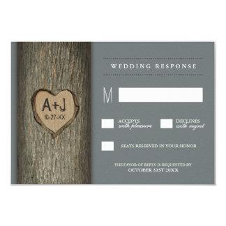 Carved Initials Heart Oak Tree Wedding RSVP Cards