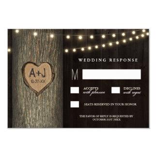 Carved Initials Old Oak Tree Wedding RSVP Cards 9 Cm X 13 Cm Invitation Card