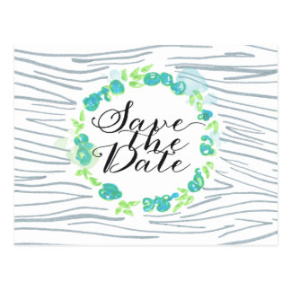 Carved Initials Wood Flowers Save the Date Card Postcard