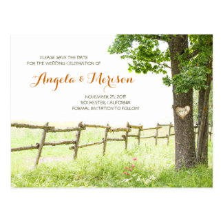 carved love tree romantic rustic save the date postcard