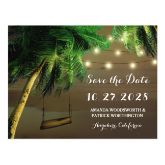 Carved Palm Tree Beach Lights Save The Date Cards