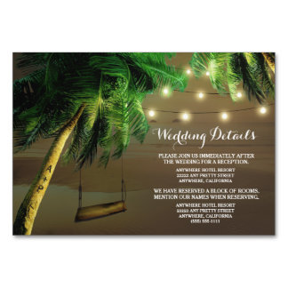 Carved Palm Tree Beach Lights Wedding Insert Cards