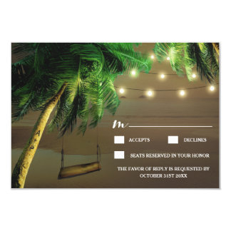 Carved Palm Tree Beach Lights Wedding RSVP Cards