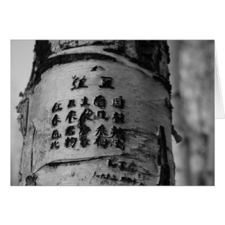 carved poetry tree - black & white cards