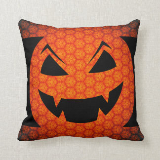Carved Pumpkin Evil Head Orange Halloween Cushion