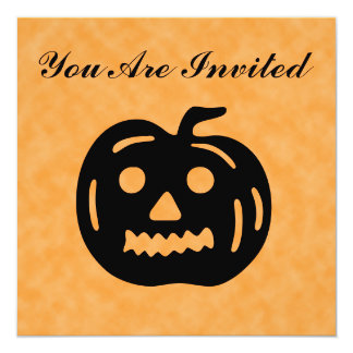 Carved Pumpkin Silhouette with Teeth. 13 Cm X 13 Cm Square Invitation Card