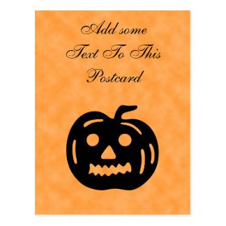 Carved Pumpkin Silhouette with Teeth. Postcard