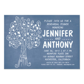 carved tree blue rehearsal dinner invitation
