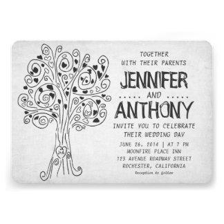 carved tree modern wedding invitation