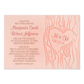 carved tree pretty wedding invitations