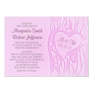 carved tree purple wedding invitations