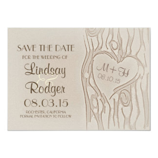 carved tree rustic save the date cards 11 cm x 16 cm invitation card