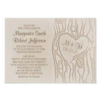 carved tree rustic wedding invitations