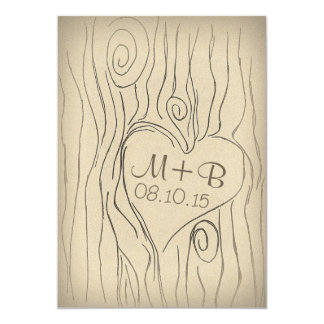 carved tree wood engagement party invitation