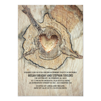 Carved Wood Heart Rustic Tree Engagement Party 13 Cm X 18 Cm Invitation Card