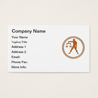 Carved Wood Libra Zodiac Symbol Business Card