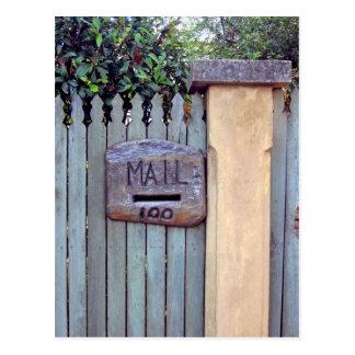 Carved Wood Mailbox Slot Number 100 Postcard