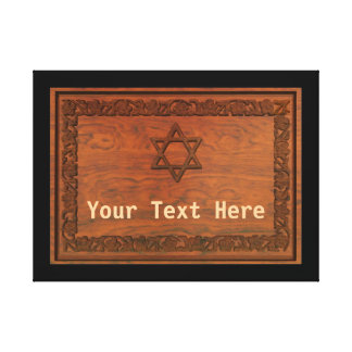 Carved Wood Star Of David Canvas Print