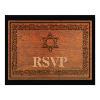 Carved Wood Star Of David Custom Announcements