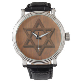 Carved Wood Star Of David Watch