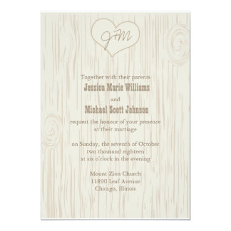 Carved Wooden Wedding 13 Cm X 18 Cm Invitation Card