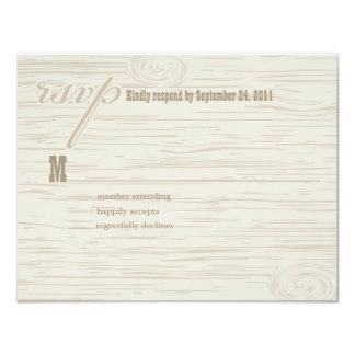 Carved Wooden Wedding RSVP 11 Cm X 14 Cm Invitation Card
